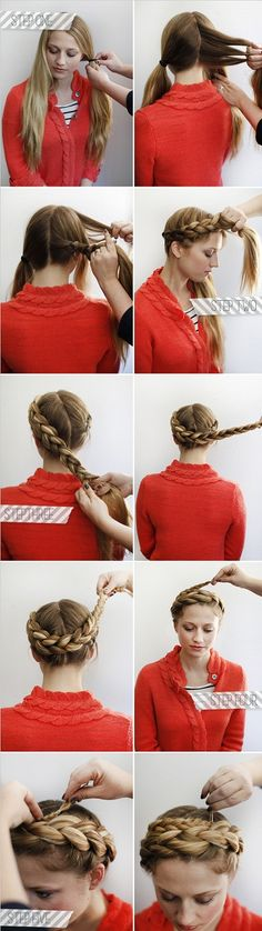 halo braids. Obsessed with milkmaid braids right now. Think I'll try this variation.