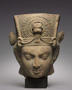 ~ Head of Vishnu. century Place of origin: Central India, Madhya Pradesh, Vidisha Period: Gupta Period Medium: Sandstone Asian Sculptures, Stone Sculptures, Sculpture Head, Art Premier, Cleveland Museum Of Art, Hindu Deities, Greek Art, Hindu Art, Buddhist Art
