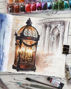 Candle Light Lamp. Street Lamps Oil Lamps and Candle Light Lamps Watercolors. By Alena Ponkratova.