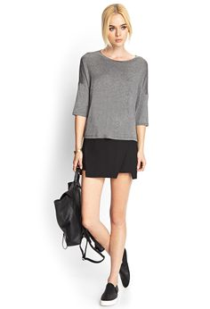 Heathered Drop Shoulder Top   FOREVER21 - 2000121634 #forever21 #styling #donnalisa