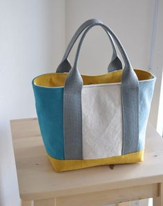 Canvas Baby Simple Tote Multi (Turquoise etc) - Patchwork Bags, Quilted Bag, Tote Bags For College, Leather Bag Tutorial, Embroidery Bags, Diy Handbag, Craft Bags, Denim Bag, Purse Patterns