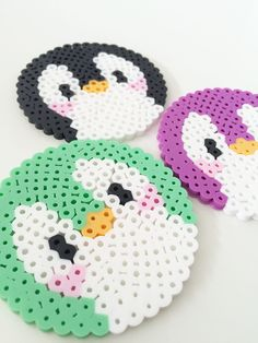 Cute Penguin Perler Bead Coasters, Set of 3 by PixelPrecious on Etsy https://www.etsy.com/listing/248136548/cute-penguin-perler-bead-coasters-set-of