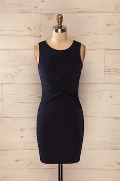 Boyle - Navy fitted draped dress