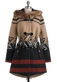 Tularosa Coat in Daybreak by BB Dakota - Long, 3, Red, Brown, Tan / Cream, Black, Print, Casual, Hoodie, Winter