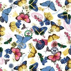 1/2 YARD BUTTERFLIES AND BLOOMS QUILT FABRIC MEDLEY - Product Details