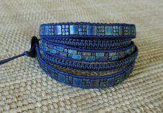 SOLD.Dark Blue Leather Wrap Bracelet-Raku Bead Mosaic and Macrame: Unique Wrap Bracelet, Statement Bracelet, One of a Kind, Peacock Blue Bracelet by DevaOriginalBracelet on Etsy