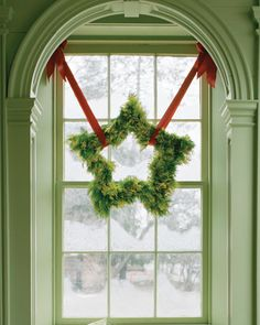 Great way to hang a wreath!!