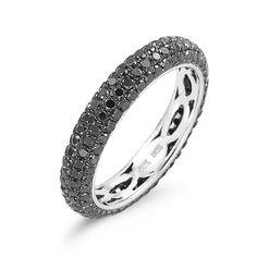 Melissa Louise Black Diamond Ring in 14K White Gold