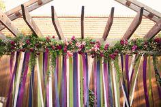Festivities Event Center. Photo by Amanda Watson Photography. #wedding #altar #ribbon #decor