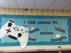 School counseling bulletin boards - I Can Control My Hands Feet Actions Video Game Bulletin Board Counseling Bulletin Boards, Classroom Bulletin Boards, School Classroom, Bulletin Board Ideas For Church, School Counselor Door, January Bulletin Board Ideas, Kindness Bulletin Board, Elementary Bulletin Boards, Special Education
