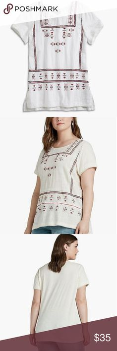 Lucky Brand embroidered boho woven/knit top NWT Woven front, knit back Red & blue embroidered front, solid back 100% cotton New with tag Lucky Brand Tops Tees - Short Sleeve
