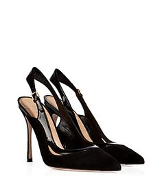 Sultry cutout detailing lends an exquisitely chic twist to these Black Suede and Patent Slingbacks from Sergio Rossi for any Modern Gladiator to step out in...