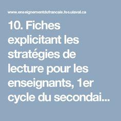 10. Fiches explicitant les stratégies de lecture pour les enseignants, 1er cycle du secondaire - Portail pour l'enseignement du français