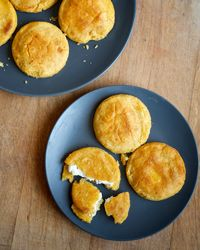 Feta-Filled Arepas | In this recipe, chef Peter Berley looks to Latin America, creating a sophisticated take on the ubiquitous arepa (corn cake) stuffed with feta cheese.