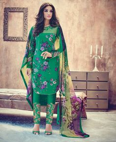 Cotton & Satin Machine Work Green Floral Print Unstitched Pant Style Suit - 8523