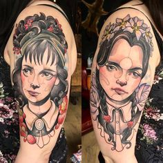 Lydia Deetz and Wednesday Addams by Holly at Vaudeville Tattoo Co Sheffield UK