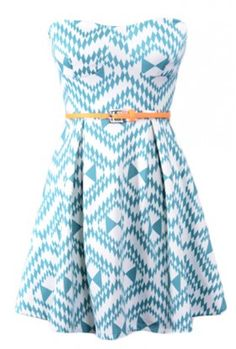 The Teal Print Belt Dress $29.00