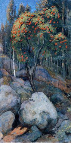 Pekka Halonen: Pihlaja (1894) via paintingdb
