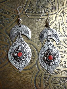 Moroccan Berber red and silver colour earrings by HilarysBazaar, $12.00