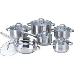 12-Piece Stainless Steel Cookware Set w/ Casseroles, Frying Pan, & Saucepan- Free Shipping