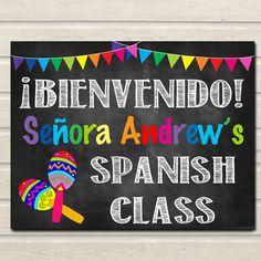 Spanish classroom set up and decorations free downloadable spanish teacher classroom door sign bienvenido printable classroom decor custom teacher sign back to pronofoot35fo Gallery