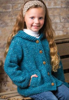 Knitting Pattern for Cadet Hooded Cardi - Hooded cardigan with lots of buttons and roomy pockets. Quick knit in bulky yarn. Size: Child's 2 (4, 6, 8) years.
