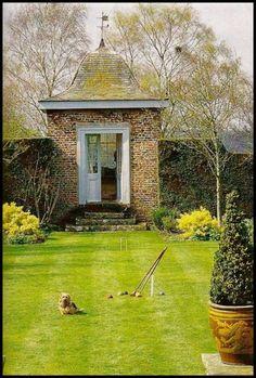 Stone Garden Shed and Walled Croquet Lawn Diy Garden, Dream Garden, Shade Garden, Home And Garden, Garden Sheds, Garden Structures, Outdoor Structures, Landscape Design, Garden Design
