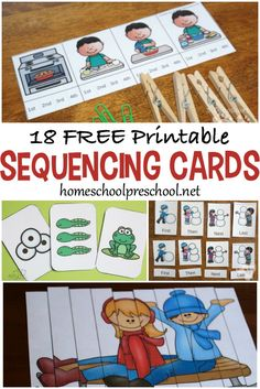 20 Free Printable Sequencing Cards for Preschoolers Start building a strong foundation for math and reading by introducing sequencing skills to your preschoolers. These free printable sequencing cards will get you started. Preschool Learning Activities, Free Preschool, Preschool Printables, Language Activities, Kids Learning, Sorting Activities, Preschool Themes, Preschool Classroom, Toddler Activities
