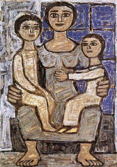 Γιώργος Σικελιώτης   Μάνα με παιδιά (1955) Art Story, Greek Art, Painting, Painting Art, Paintings, Painted Canvas, Drawings