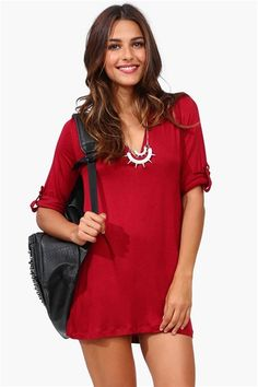 Burgundy Dress adorable with leggings and fall boots :D