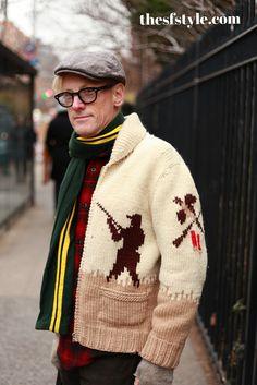 Mary Maxim Men's No. 432 The Pheasant Hunt sweater jacket