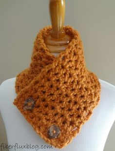 Butternut Squash Neckwarmer, a free crochet pattern from Fiber Flux