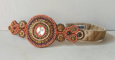 Unique Hand Beaded Orange and Gold Couture Headband, Velvet, Handmade, Beaded Headband, Unique Headband, Boho, Aztec, Swanky Bands