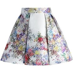 Chicwish Pixel Flowers Pleated Skirt in Pearl-white