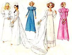 Vintage Simplicity 8575 Wedding Bridal Bridesmaid Dress Sewing Pattern 1970s…