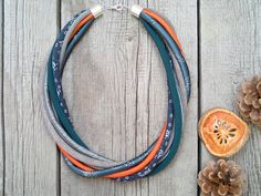 GIFT for HER textile necklace, statement textile necklace, fabric jewelry, ECO style necklace