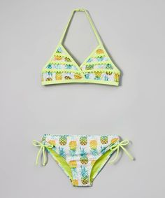 789caff615d9a Look what I found on  zulily! Jantzen Lime Green Paradise Pineapple Bikini  - Girls