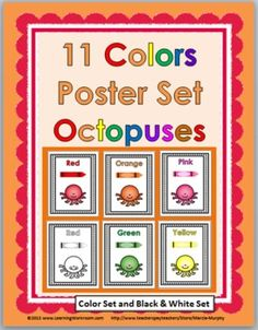 Colors Poster Set – {Octopuses} This file contains a set of 11 different Color Posters. The posters come in a color set and also in a black & . Preschool Classroom, Classroom Themes, Kindergarten, Ocean Activities, Preschool Activities, Ocean Themes, Beach Themes, Poster Colour, Color Posters