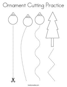 Ornament Cutting Practice Coloring Page - Twisty Noodle