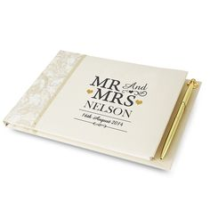 Guest book personalised with the name of the wedding couple