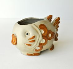 Vintage 1970s Pottery Goldfish Planter by DecorateVintageStyle,