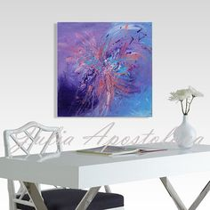 Original painting, Abstract Art, Puple and Blue painting, Minimalist, Acrylic Abstract, Turquoise Art, Large Wall Art, Purple Home Decor by juliaapostolova. Explore more products on http://juliaapostolova.etsy.com