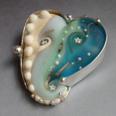 Mary Jarvis--Ocean Pendant II a  Lampwork glass set in silver