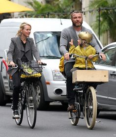 Liev & naomi bike through NYC