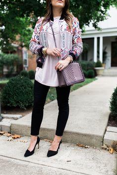Fall Fashion via Glitter & Gingham // printed bomber jacket, black pumps, black jeans, Target style
