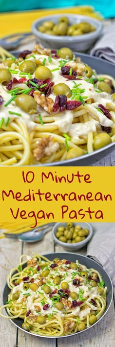 My 10 Minute Mediterranean Vegan Pasta recipe just takes 5 ingredients and 2 easy steps to make. Comes with an easy hummus sauce, is vegan, gluten free, and done in 10 minutes.