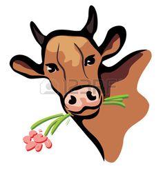 mucca felice ritratto multicolore illustrazione primo piano photo