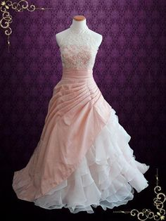 Halter Blush Pink Ball Gown Wedding Dress with Organza Ruffles   Alina