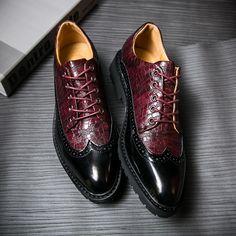 2017 New Arrival Spring British Style Genuine Leather Burgundy Business Men Dress Shoes Wedding Shoes, Men Dress Shoes Wingtip