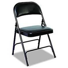 Alera FC96B Steel Folding Chair with Two-Brace Support, Padded Back/Seat, Graphite (Case of 4)
